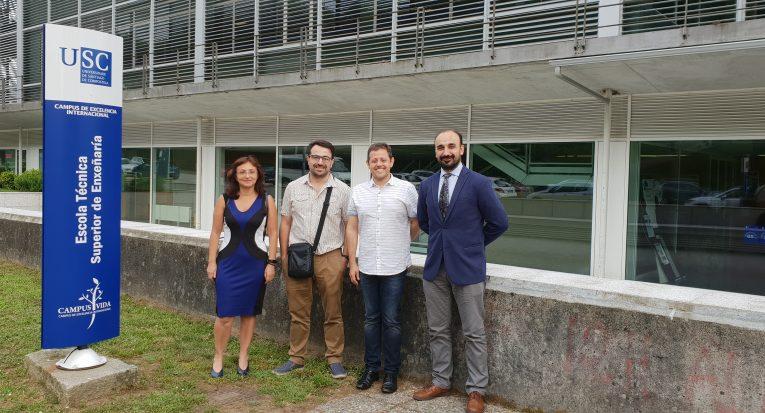 Professor Dr. Álvaro Lima entre os docentes Ana Soto, Oscar Rodriguez e Hector Rodriguez da Universidade de Santiago de Compostela
