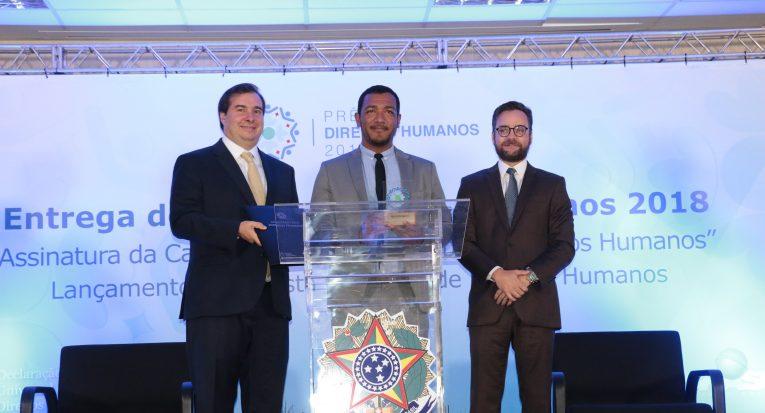 Presidente em exercício, Rodrigo Maia, Dr. Ilzver Matos e o ministro Gustavo Rocha - Foto Luiz Alves/MDH