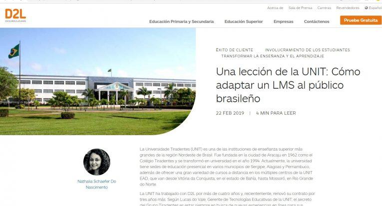 Interface da notícia sobre legado da Unit em investimento no EAD