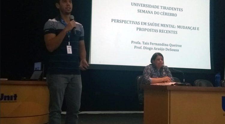 Registro da primeira palestra com os professores Taís Fernandina Queiroz e Diogo Araújo de Sousa