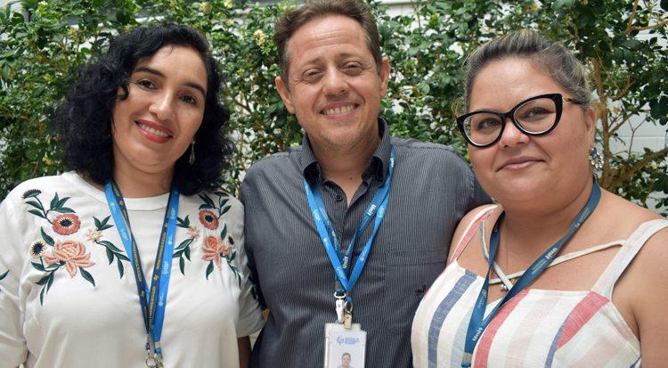 Três dos professores contemplados: Katlin Ivon, Álvaro Lima e Francine Padilha